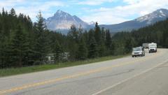 British Columbia Mount Robson Mt Fitzwilliam cars  Stock Footage