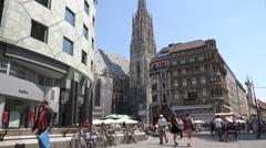 ULTRA HD 4K Tourist people visit Stephansplatz square day Vienna Stephen church Stock Footage
