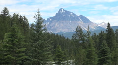 British Columbia Mount Robson Mt Fitzwilliam above forest  - stock footage