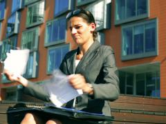 Angry businesswoman checking documents and tear paper into pieces Stock Footage
