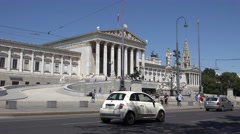 ULTRA HD 4K Austrian Parliament building traffic street Vienna downtown day icon Stock Footage