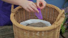 Making Lavender Pouches Stock Footage