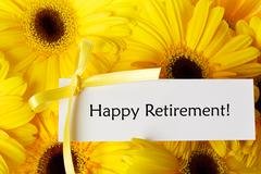 happy retirement card with yellow gerberas - stock photo
