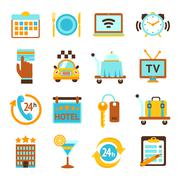 Stock Illustration of Hotel services flat icons set