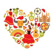 Spain heart print - stock illustration