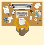 Accounter management workplace Stock Illustration