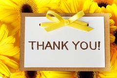 Thank you card with yellow gerberas Stock Photos