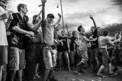 Rock concert crowd in przystanek woodstock 2014, kostrzyn, poland Stock Photos