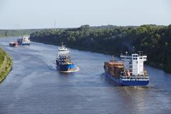 beldorf (germany) - vessels at kiel canal (retouched) - stock photo