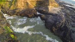 Rainbow Spouting Ocean Geyser Aerial Stock Footage