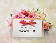 You are simply wonderful message with roses Stock Photos