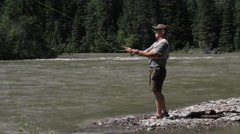 Canada British Columbia North Thompson River fly fishing in time lapse Stock Footage