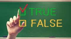 true or false checkbox with hand - stock photo