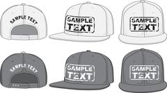 Rap cap, front, back and side view. Vector - stock illustration