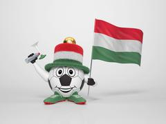 soccer character fan supporting hungary - stock illustration