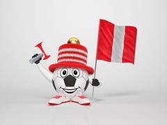 soccer character fan supporting peru - stock illustration