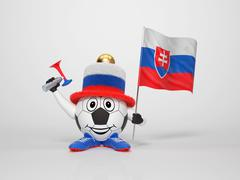soccer character fan supporting slovakia - stock illustration