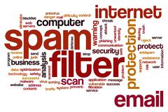 spam filter word cloud - stock illustration