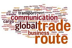 trade route word cloud - stock illustration
