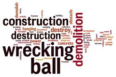 Wrecking ball word cloud Stock Illustration