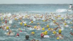 Triathlon Swimmers in Water Swimming in Super Slow Motion 2 Stock Footage