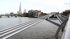 London view from Millenium Bridge. - stock footage