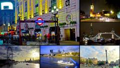 London montage collection postcard. landmarks scenes of london uk video wall Stock Footage