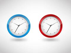 blue & red clock vector illustrator - stock illustration