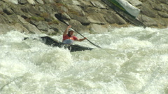 Wildwater canoeing woman 02 Stock Footage