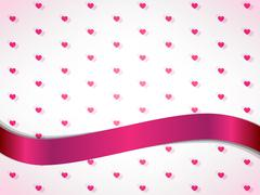 Hearts background with ribbon vector illustration - stock illustration