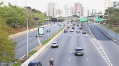 Cars on Avenida 23 de Maio in Sao Paulo, Brazil. Stock Footage