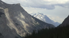 Canada Icefields Parkway mountains & clouds Stock Footage