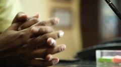 Closeup of Male hands Stock Footage