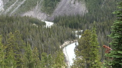 Canada Icefields Parkway curving river Stock Footage