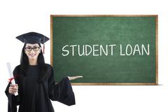 Stock Illustration of bachelor and student loan text