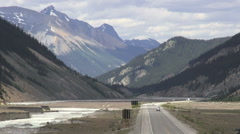 Canada Icefields Parkway road with traffic Stock Footage