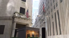 Wall Street Stock Exchange Entrance Stock Footage