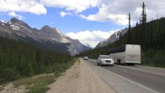 Canada Icefields Parkway with bus Columbia Icefield - stock footage