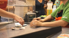 Market store place grocery, at the cashier Stock Footage