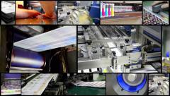 Amazing print industry montage. video wall background of printing plant produ Stock Footage