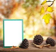 autumn greeting card with pinecones - stock photo