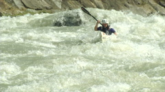 Wildwater canoeing woman slow motion 03 Stock Footage