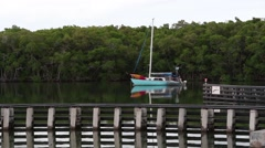 Sailboat Anchored on the Intracoastal Stock Footage