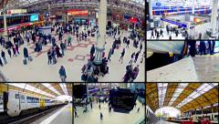 london transportation and commuters at rush hour video wall. - stock footage