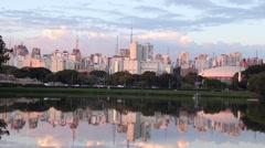 Beautiful Landscape of Sao Paulo at Ibirapuera Park Stock Footage