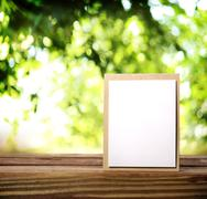 greeting card on the wooden table - stock photo