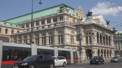 Court Opera building traffic street sunny day Vienna downtown exterior facade  Stock Footage