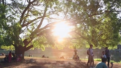 People enjoy the sunset at Ibirapuera Park in Sao Paulo, Brazil. Stock Footage