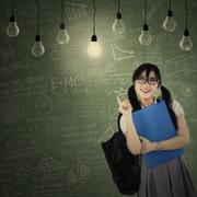 Stock Illustration of cheerful student getting bright inspiration