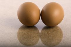 Stock Photo of two chicken brown eggs reflected in a wooden table